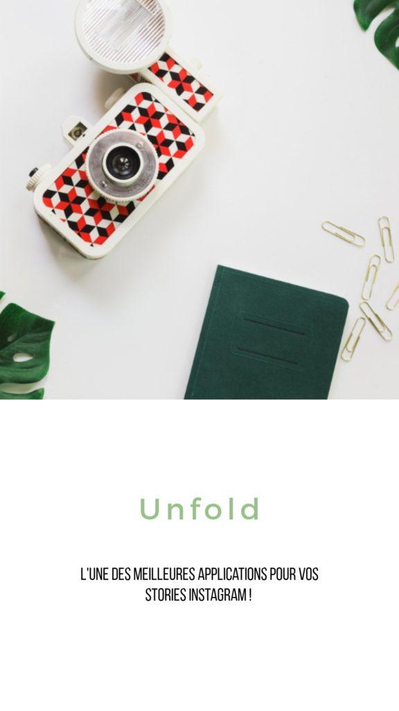 Application gratuite Unfold pour faire des stories Instagram