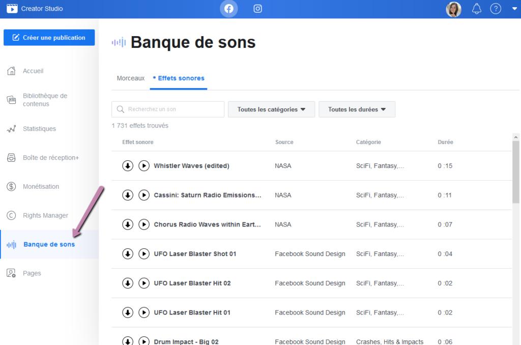 Facebook Creator Studio - Banque de sons