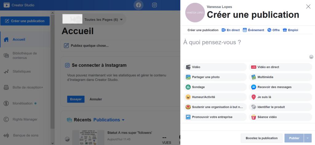 Creator Studio - Comment programmer une publication sur Facebook