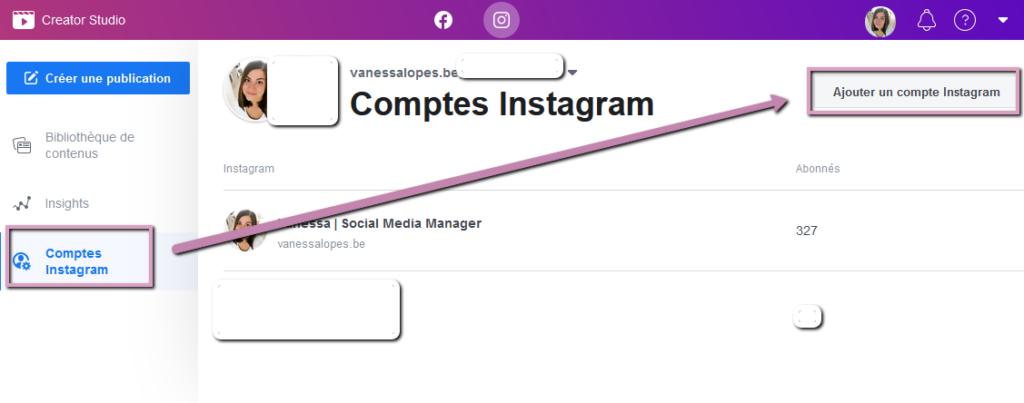 Creator Studio - Comment ajouter un compte Instagram