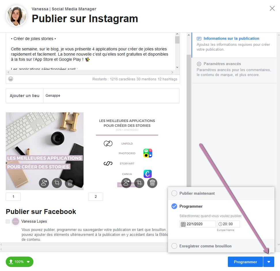 Creator Studio - Comment programmer une publication sur Instagram
