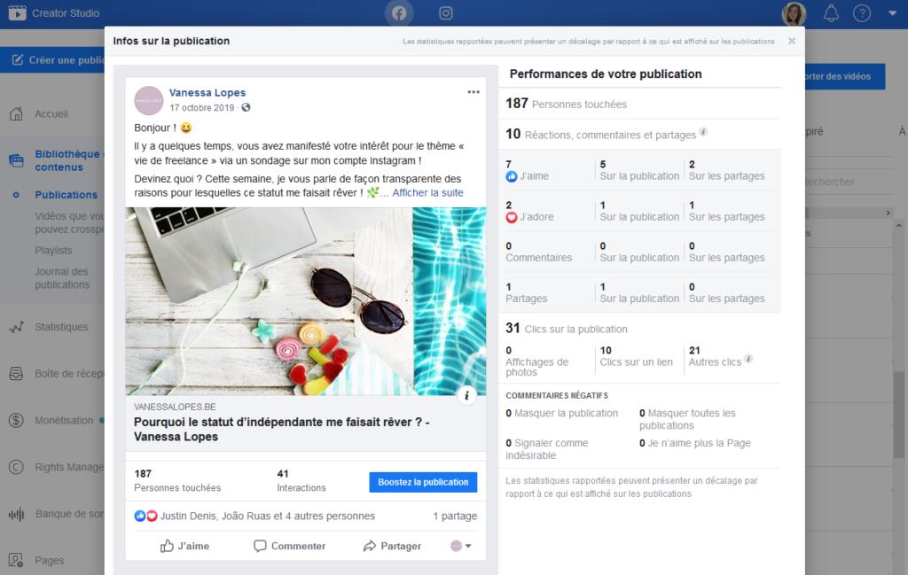 Facebook Creator Studio statistiques d'une publication