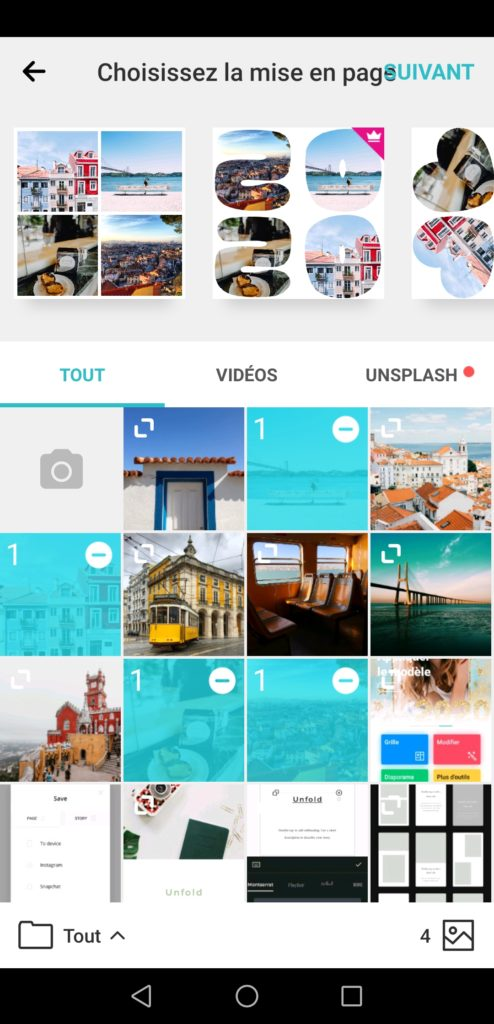 Application gratuite PhotoGrid pour faire des stories Instagram