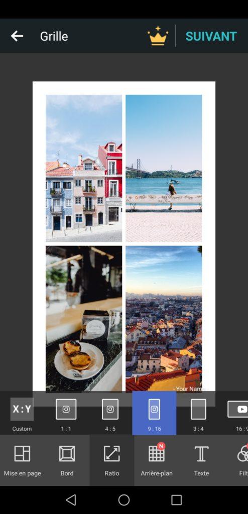 Application gratuite PhotoGrid pour faire des stories Instagram