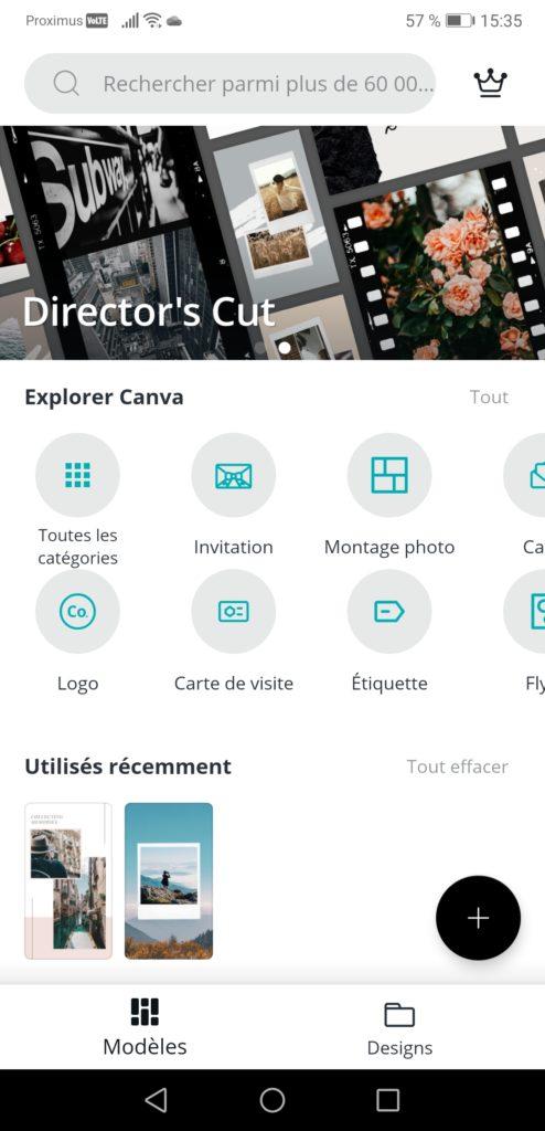 Application gratuite Canva pour faire des stories Instagram