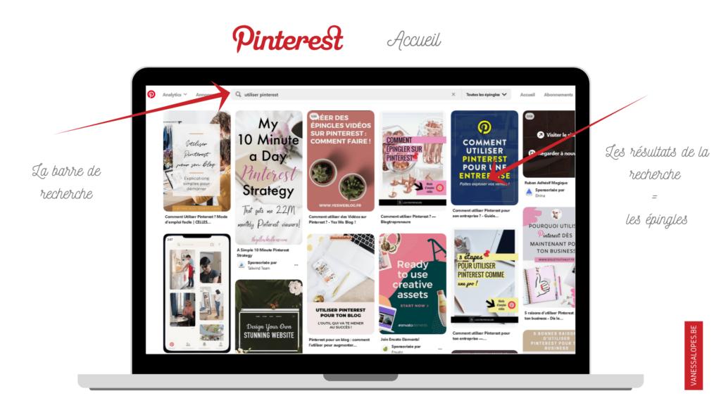 Pourquoi utiliser Pinterest pour mon activité ? L'accueil de Pinterest avec son moteur de recherche et les épingles.