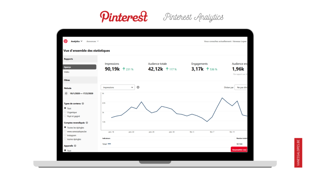 Vanessalopes.be - Pinterest Analytics