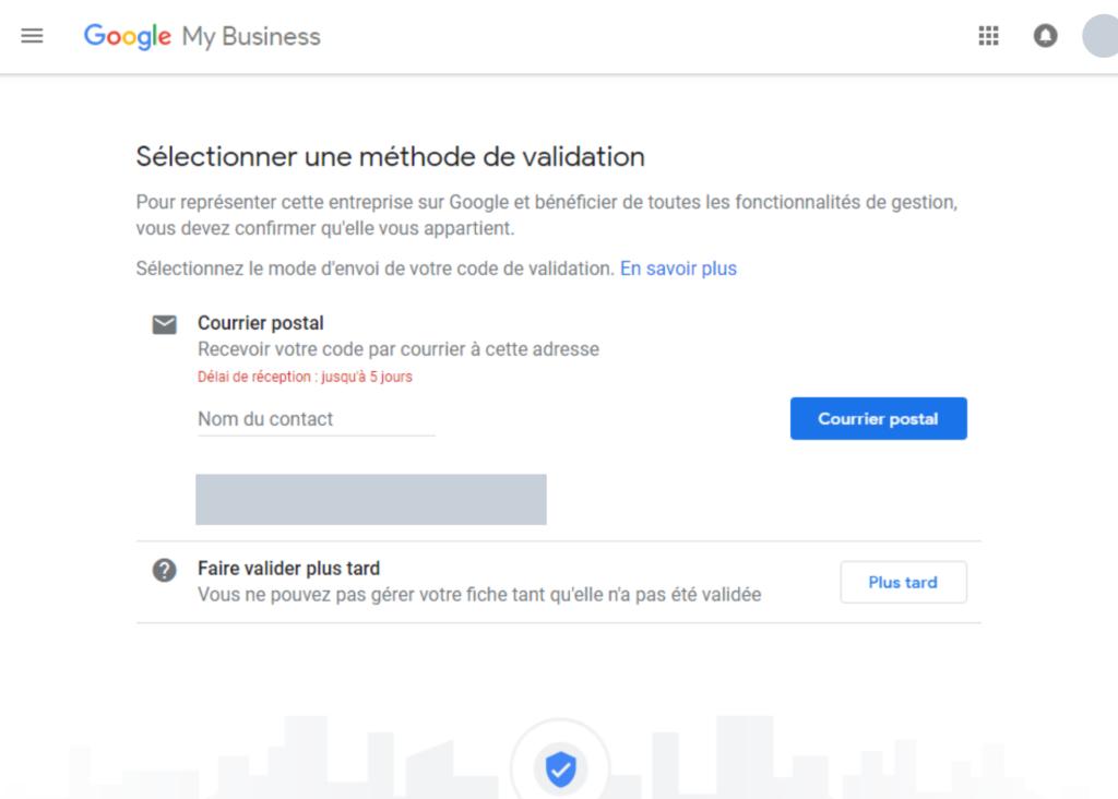 Google My Business - Méthode de validation