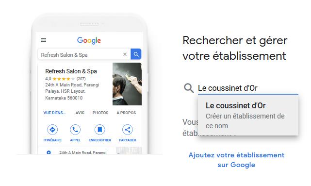 Google My Business - Rechercher et gérer votre établissement