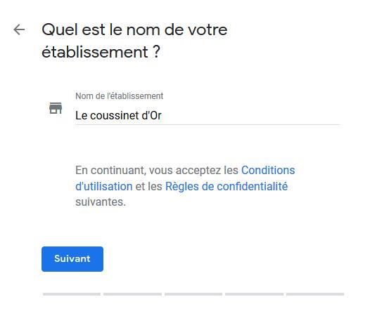 Google My Business - Insérer le nom de l'établissement