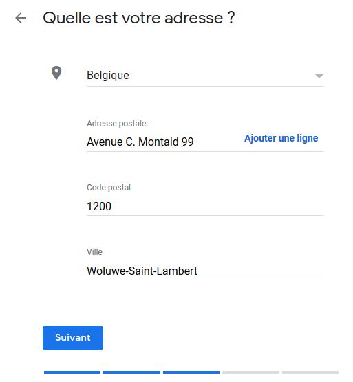 Google My Business - Adresse