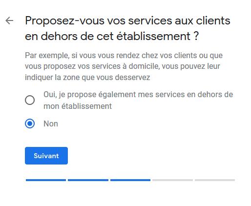 Google My Business - Services en dehors de l'établissement principal
