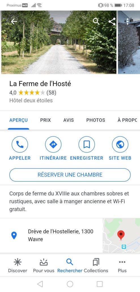 Fiche Google My Business de l'établissement Ferme de l'Hosté