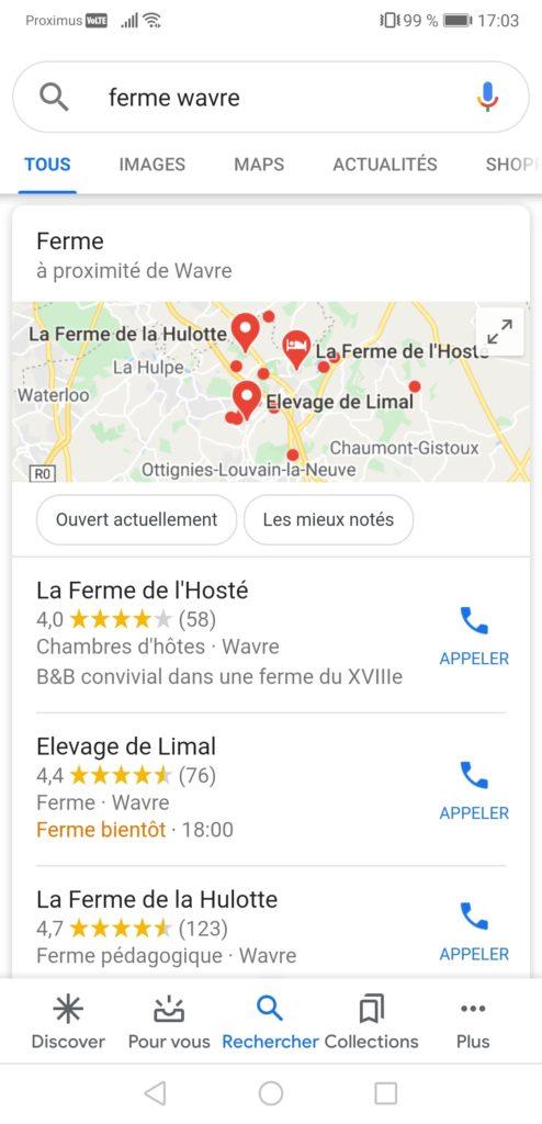 Fiches Google My Business dans résultats de recherche