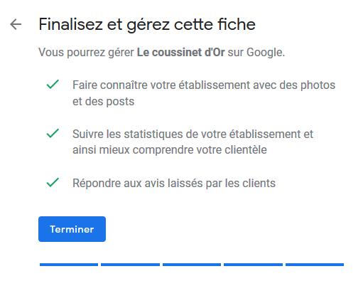 Google My Business - Finaliser la création de la fiche