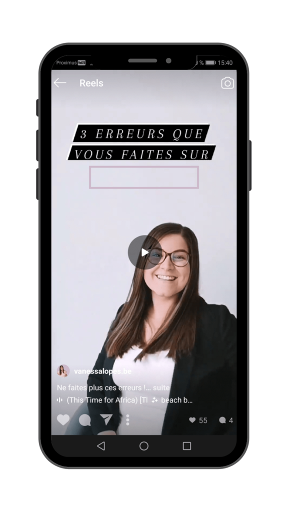 Vanessa Lopes - Instagram Reels - Exemple de bug texte qui disparait