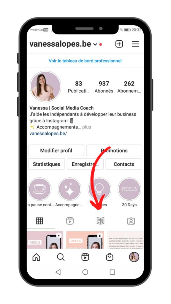 Image illustrant où se trouvent les guides Instagram sur le compte de Vanessa Lopes